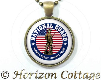 National Guard with American Flag - Pendant, Backpack Clip, or Set With Both