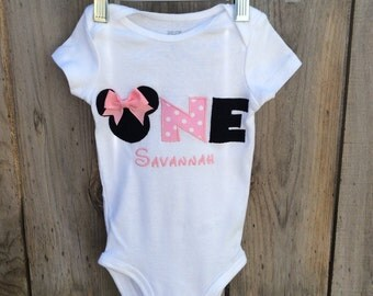 Minnie Mouse 1st birthday onesie with Embroiyered Name