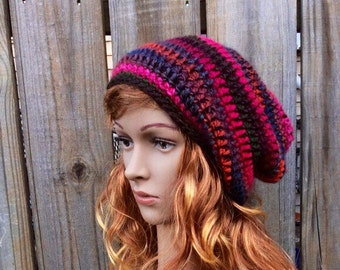 Slouch Beanie, Crochet Beanie, Syrah Slouch Beanie READY TO SHIP, Slouch Hat, Womens Beanie, Slouchy Hat, Womens Slouch Hat