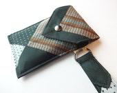 Recycled 3-Pocket Necktie Wristlet Wallet Green, Tan, Rust, Blue Geometric
