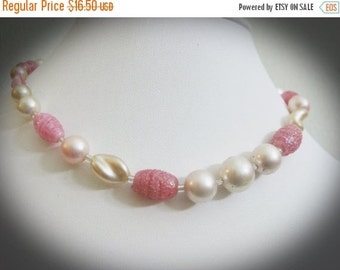 SALE Variegated Bead, Faux Pearl, And Clear Bead Vintge Necklace
