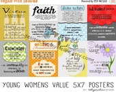 Cyber & Christmas Sale 5x7 Digital - Young Womens Value posters, LDS  young womens handouts, opening exercises, young women values, yw value