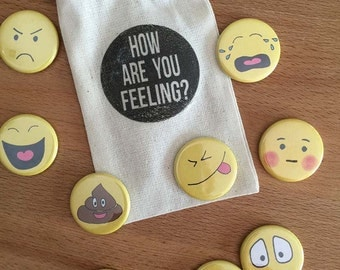 Emojis - How are you Feeling? - magnets or pins - Pack of 9