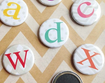 """Individual Alphabet Magnet or Pin - multi coloured  - 1.25"""""""