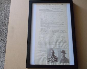 Original 1908 Convict Penitentiary Receipt,Framed