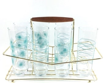 Mid Century Modern Glassware Set and Caddy, Teal Drinking Glasses, Aqua Tumblers, Vintage Bar Cart, Mid Century Barware, Starburst Highball