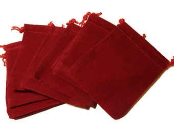 """Red velvet bags, 10pcs drawstring pouch, 3"""" X 4"""", jewelry rocks pouch, wedding favors, Dungeons and Dragons (D&D), Christmas bags, gift bag"""