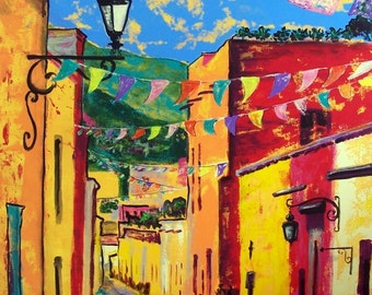 Original painting of Mexican street in San Miguel de Allende small town wall decor original art acrylic on canvas 26 x 35.5