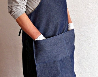 Sale Man heavy duty allpurpose denim apron with two large packets for painters gardening craft work