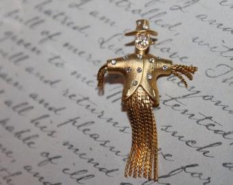 Tasseled Scarecrow with Rhinestones Pin