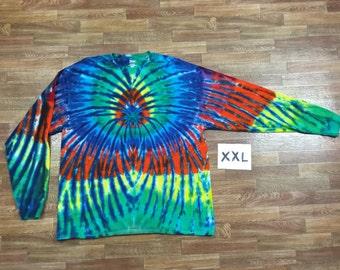 Tie Dye T-Shirt ~ Rainbow Spider Spiral with Blue Blades i1604 2XL Long Sleeve