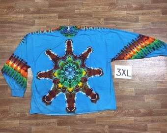 Tie Dye T-Shirt ~ Rainbow Mandala With Turquoise Blue Background ~ i2009 in Long Sleeve Triple Extra Large