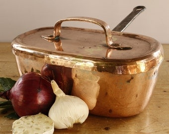 Vintage French Heavy Copper Daubiere StockpotPot....2600g (roughly 6lbs).