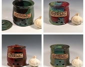 Custom Garlic Keeper - Pottery Garlic Jar - Lidded Jar - Kitchen Storage - Made to Order - Choose your color- ceramics - pottery - stoneware