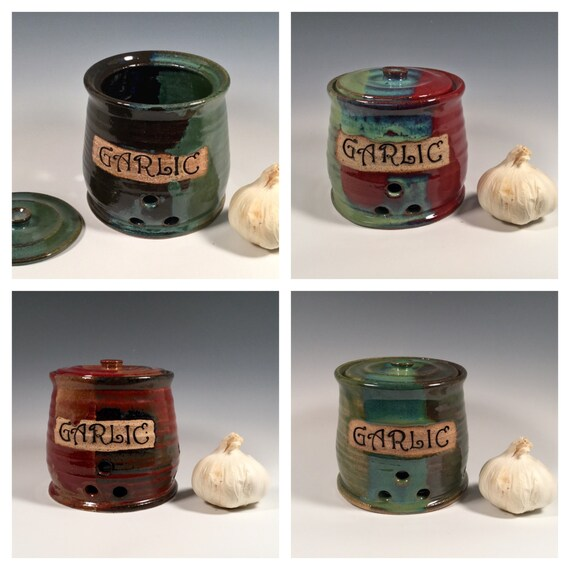 Custom Garlic Keeper - Pottery Garlic Jar - Lidded Jar - Kitchen Storage - Made to Order - Choose your color- ceramics - pottery - stoneware