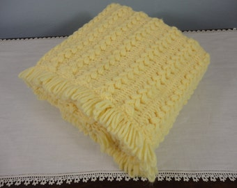 Bright Yellow Cable Stitch Adult Afghan  Holiday Gift