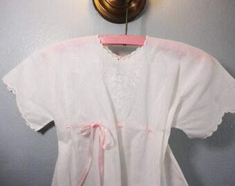 Vintage White Little Girls Dress Pink Satin Ribbon Embroidery