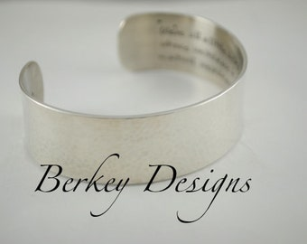 Sterling Keepsake Custom Love/Poetry Hand Stamped Custom Secret Message Cuff