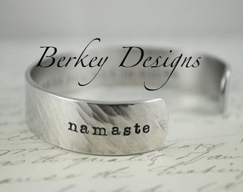 Namaste I Honor the Light in You and In All Secret Message Hand Stamped Bracelet- Personalized Bracelet