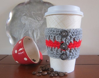 Grey Cup Cozy with Buttons, Crocheted Grey Cozy, Red Stripe Cup Cozy, Button Cozies, To Go Coffee Cozy, Crochet Cup Cozy, Cup Cozy Sleeve