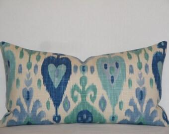 FREE SHIPPING - IKAT- 12 x 20, 12 x 22 - Decorative Pillow Cover - Aqua - Blue - Teal - Periwinkle