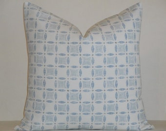 BOTH SIDES - KRAVET - Sarah Richardson - Decorative Pillow Cover - Yorkville in Chambray Blue - Taupe - Accent Pillow - Euro Sham