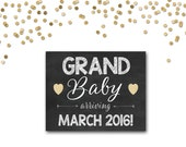 Pregnancy announcement, grand baby sign, grandchild arriving, chalkboard sign, photo prop