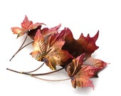 Copper and Brass Maple Leaves Wall Sculptures Two Piece Dimensional Metal Hanging Wall Art