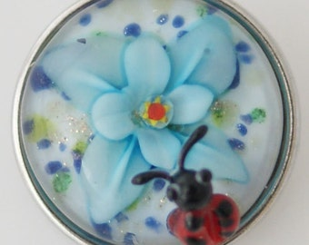 1 PC - 18MM Blue Flower Ladybug Lampwork Silver Tone Charm for Candy Snap Jewelry KG2121 Cc2638