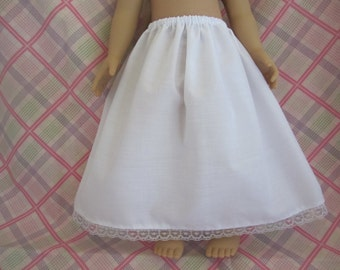 """Long doll slip for 18"""" dolls Ankle length white poly cotton fabric lace trim"""