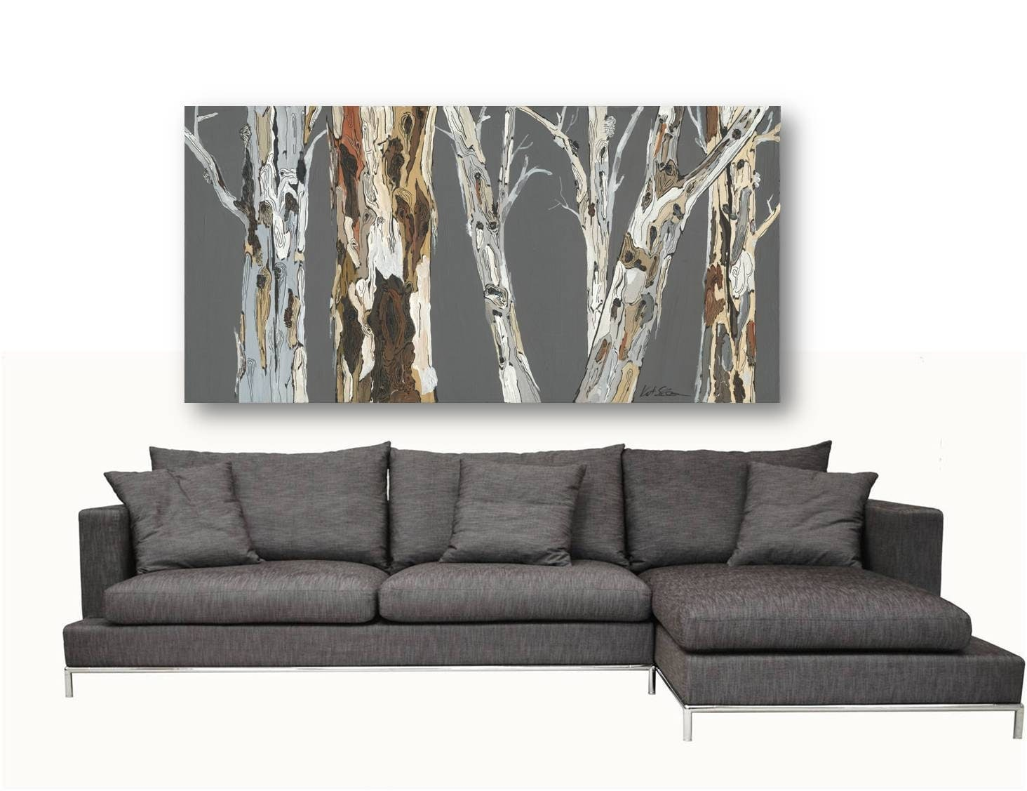 Extra Large Wall Art Print Tree Art Rolled Canvas Pastels Gray