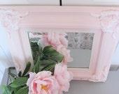 French Framed Mirror Vintage Wall Decor Pink White Ornate Regency Baroque Rectangular 17 X 15 Romantic Shabby Chic Cottage Farmhouse  Decor