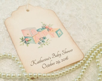 Baby Shower Thank You Tags-Baby Blocks Vintage Inspired Favor Tags-Baby Gift Tags-Set of 12