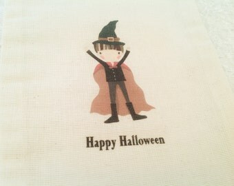 Halloween Trick or treat bags- Warlock party favor sacks- Halloween bags for boys-5x7