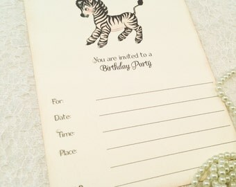 Fill in Blank Birthday Party Invitations-Party Invites- Children's Birthday Invitations-Set of 10