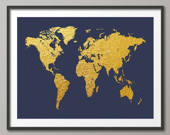 World Map Gold, Map of the World Gold, Art Print (2466)
