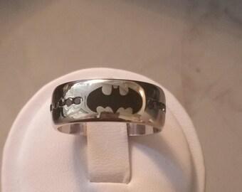 Batman inspired wedding band/ statement ring