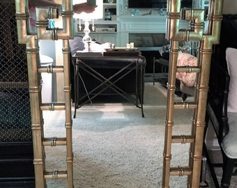 Faux Bamboo Greek Key Mirror- Hollywood Regency-Local Pick Up