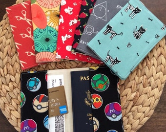 Unique Passport Cover - READY TO SHIP - Novelty Fabrics - Cats, Japanese, Scissors, Strawberries, Chemistry, Perfect Gift, Travel Case