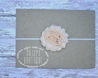 45% Off Pale Peach Shabby Flower Headband/ Newborn Headband/ Baby Headband/ Flower Girl/ Wedding/ Photo Prop