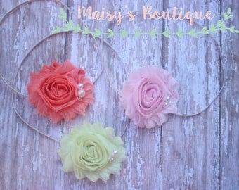 Set of 3- Baby Pink,  Coral and Pale Yellow Pearl Set/ Newborn Headband/ Baby Headband/ Flower Girl/ Photo Prop