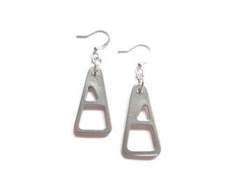 Zipper Earrings, Pewter Earrings, Silver Earrings, Minimalist Earrings, Playful Earrings, Minimalist Jewelry, Modern Earrings, Gift For Her