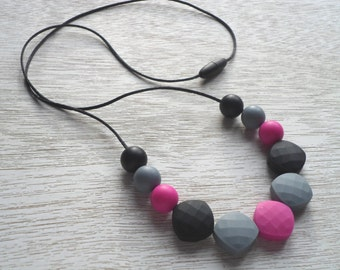 Silicone Teething Necklace, Teething Necklace, Silicone Necklace, Black Teething Necklace, Nursing Necklace, Shower Gift, Breastfeeding