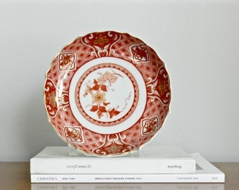Vintage Asian Dish Small Round Porcelain Tray Red Imari Style Chinoiserie Chic Decor