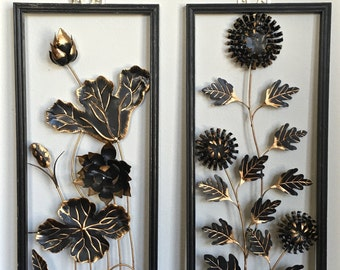 Mid Century Asian Metal Wall Art Panels Gold Black Floral Pair Hollywood Regency Decor