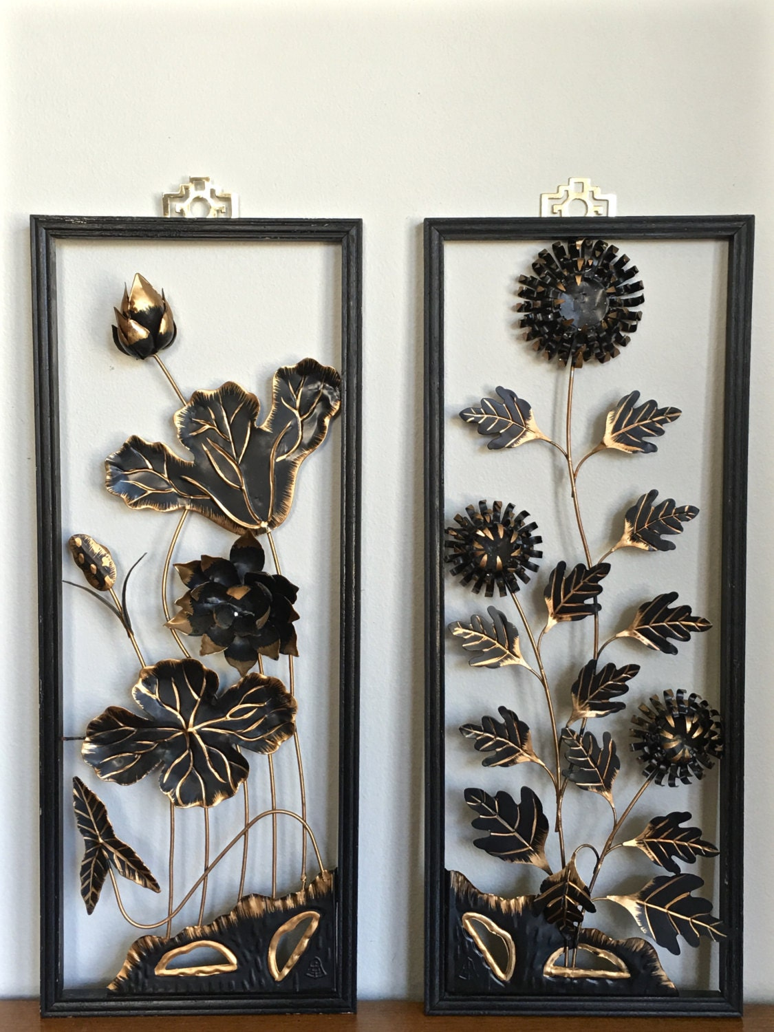 Oriental Metal Wall Decor : Mid century asian metal wall art panels gold black floral pair