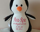 Personalised Penguin Stuffie, Baby, gift, New Baby, soft, Stuffed, Bird, Animal, Embroidered, Keepsake, Christening, Wedding, Birthday