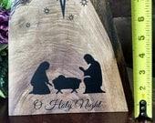 Wooden Nativity & Scripture on back