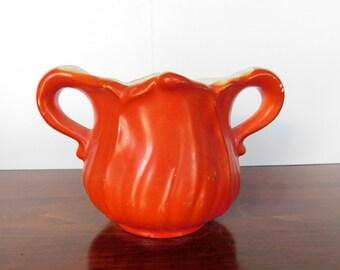 Vintage Small Sugar Bowl Decorative Orange Sugar Bowl