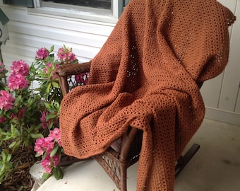 Brown Crocheted Afghan, Vintage Blanket, Handmade Afghan